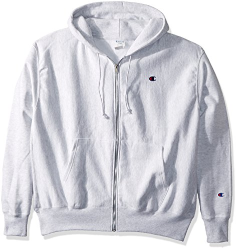 Champion LIFE Men's Reverse Weave Full-Zip Hoodie, Gfs Silver Grey/Left Chest C Logo & Sleeve Patch, 2X Large