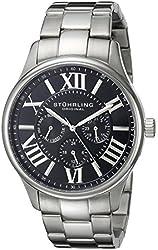 Stuhrling Original Men's 391G.02 Regent Majestic Quartz Multifunction Black Dial Stainless Steel Link Bracelet Watch