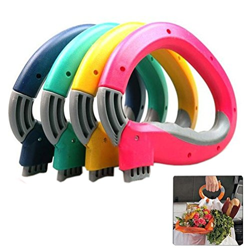 Bag Plastic Carrier (Arlai Mighty Handle,Home One Trip Grips Shopping Grocery Bag Holder Handle Carrier Lock Kitchen Tool - Pack of 4)