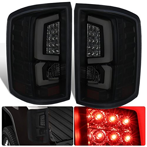 AJP Distributors LED Tube Style Tail Lights Lamps Brake Stop Light Lamps Black Housing Smoke Lens For 2014 2015 2016 2017 2018 GMC Sierra 1500 2500 3500 HD New Body Style 14 15 16 17 18 Upgrade