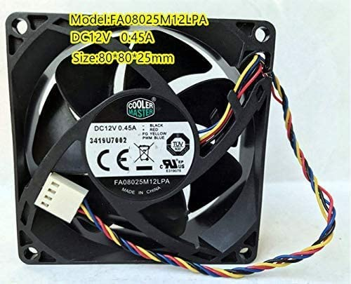 For Cooler Master FA08025M12LPA 12V 0.45A 4-Wire 8CM 8025 PWM Silent Fan