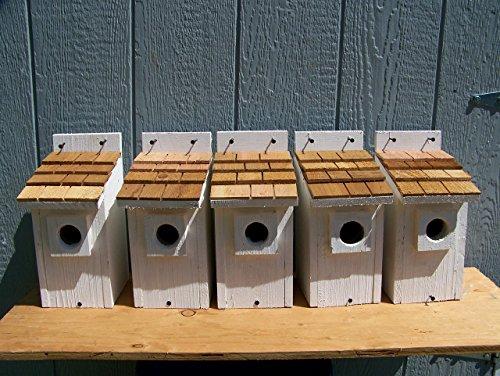 5 White Bluebird Houses with cedar shake roof... 5 houses handmade by Cedarnest