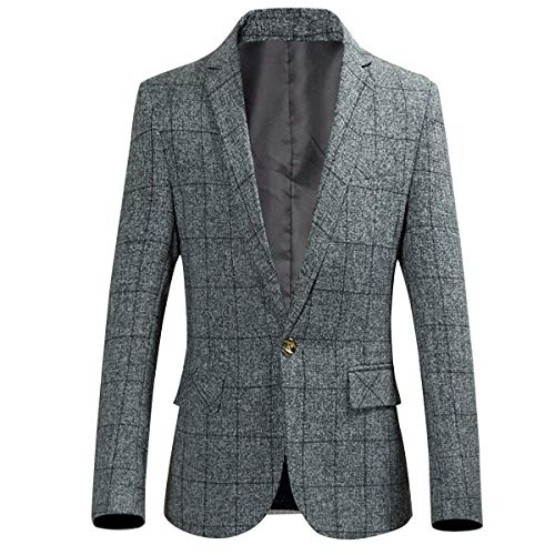 Men's One Button Plaid Blazer Slim Fit Suit Jacket Autumn Sports Coat (Light Grey, Medium/38R) ()