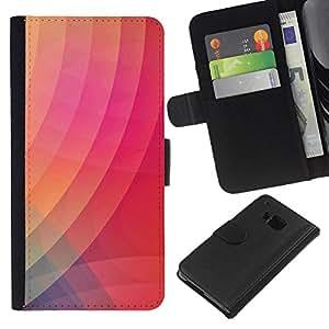 KingStore / Leather Etui en cuir / HTC One M7 / Modelo púrpura anaranjada rosada
