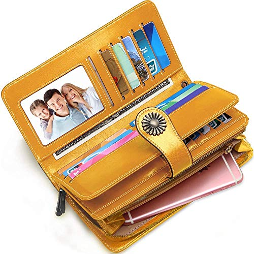 - Elegant 24 Slots Womens RFID Wallets Large Capacity Leather Long Trifold Clutch Purse