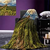 Great Wall of China Digital Printing Blanket Exquisite Skyline on Classical Old Castle Wonder of The World Themed Summer Quilt Comforter 80''x60'' Green Blue