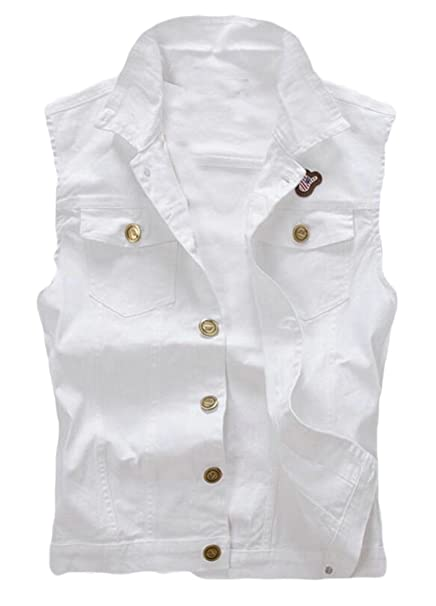 c566dfe41c7 Alion Men s Fashion White Sleeveless Denim Vest Slim Fit Lapel Jean Jacket  Waistcoat at Amazon Men s Clothing store