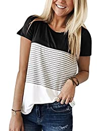Women's Triple Color Block Stripe T Shirt Short Sleeve Casual Loose Fit Tee
