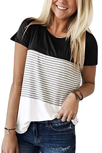 Women Shirts and Blouses Short Sleeve Tops Plus Size Summer Tees Black XL