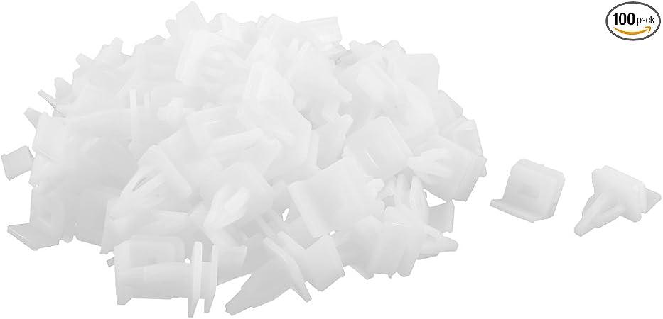 uxcell 100pcs White Plastic Moulding Trim Rivets Snap Clips