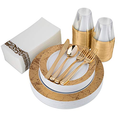 Gold Marble Rim Plastic Dinnerware (200-Piece) Plastic Plates, Plastic Cutlery, Cups and Guest Towels - Service for 25 Guests Elegant Place Setting for Wedding, Party, Baby Shower, Birthday, Holiday