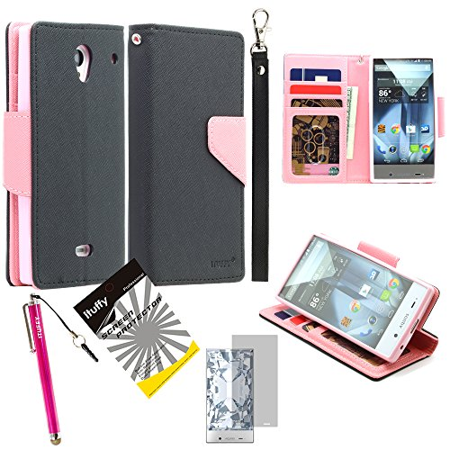 3 items Combo: ITUFFY (TM) LCD Screen Protector Film + Stylus Pen + MultiFunction 2- Tone Portfolio Leather Wallet with Inner Soft TPU Rubber Skin & ID Card Slots with Lanyard and Magnetic closure for (Sprint, Virgin Mobile, Boost Mobile) Sharp Aquos Crystal 306SH (5.0