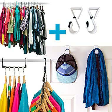 Amazing Space Saving Hangers Closet Organizer (10 Pack) PLUS A Set Of 2 Hooks Over The Door Hanger Rack - Organise Bedroom, Bathroom, Closets - Hang Shirts, Coats, Towels, Robes, Hats
