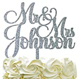 Personalized Wedding Cake Topper - Wedding Cake Decoration Customized Mr & Mrs Last Name To Be Bride & Groom script fontGlitter Acrylic