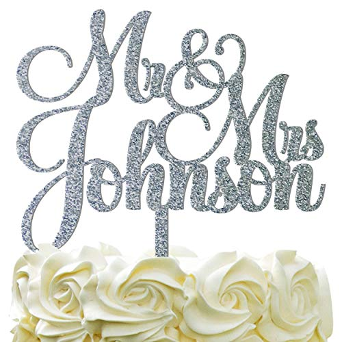 Personalized Wedding Cake Topper - Wedding Cake Decoration Customized Mr & Mrs Last Name To Be Bride & Groom script fontGlitter -