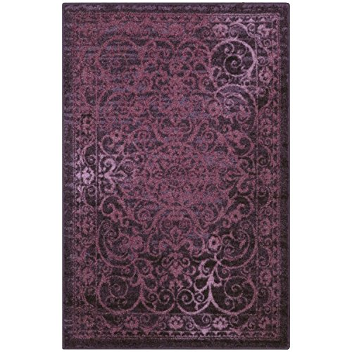 Area Rugs, Maples Rugs [Made in USA][Pelham] 7' x 10' Non Slip Padded Large Rug for Living Room, Bedroom, and Dining Room - Wineberry Red by Maples Rugs