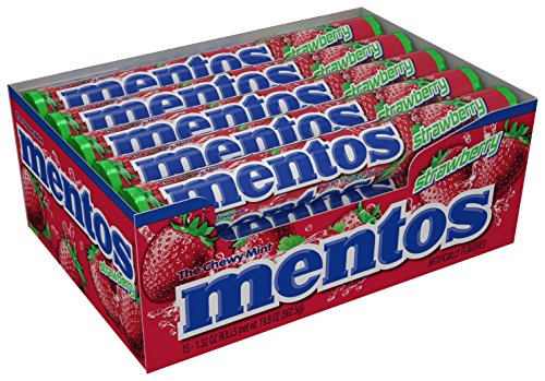 Mentos Chewy Mint Candy Roll, Strawberry, 1.32 ounce/14 Pieces (Pack of (Roll Strawberry)