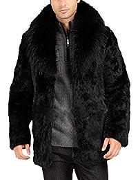 S&S Men's Fashion Black Winter Warm Thick Outerwear Fur Collar Coat Overcoat Jacket
