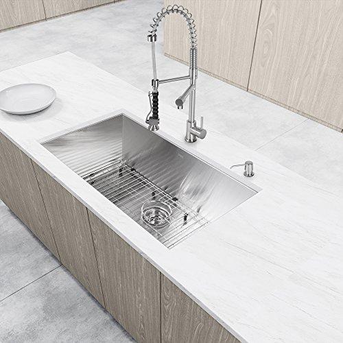 Vigo Zurich Single Handle Pull Down Spray Kitchen Faucet Stainless Steel