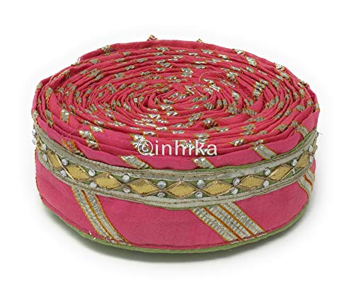 9 Yard Roll Lace Saree Border Applique Trim Ribbon in Green Pink, Bandhani Print Colour Base Gold, Silver Colour Embroidery, Gota-Patti Work (Pista Green, Pink, Silver) (Pista Roll)
