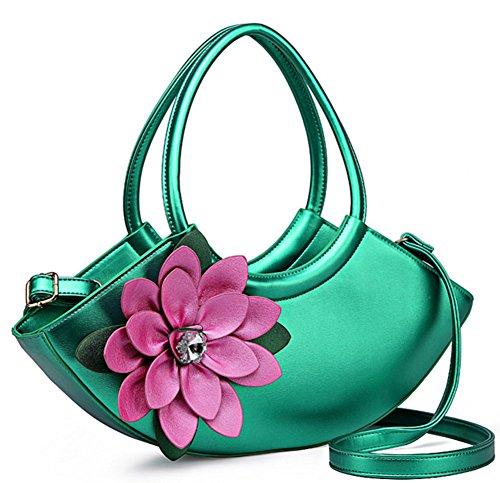- Skyseen Women 3D Flower Series PU Leather Crescent-Shaped Shoulder Crossbody Hobo Bag