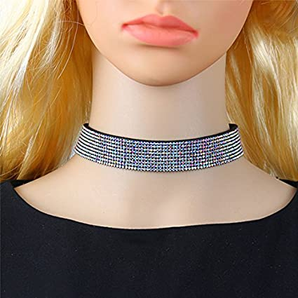 Youkara Choker Necklace Goth Vintage Classic Punk Choker Adjustable Necklace Collar Choker Chain Jewelry Party Wedding for Women Girls11.8in-Best Decoration for Summer Dress-silver