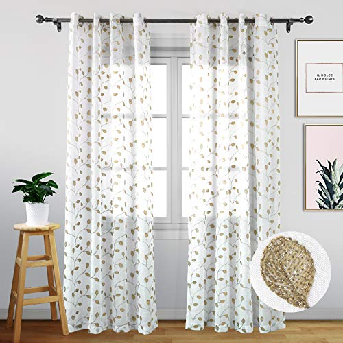 Eamior Sheer Curtains 72 inches Long - Floral Embroidered Voile Sheer Curtain Panels with Grommet Top for Living Room (Set of Two, W52 x L72, Gold Leaves) (Embroidered Voile)