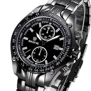 Reloj completo calendario resistente al agua relojes hombres de lujo marca de cuarzo analógico reloj Casual relojes de pulsera de acero inoxidable, ...