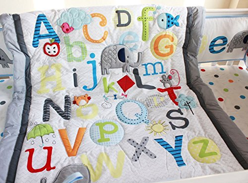 NAUGHTYBOSS Unisex Baby Bedding Set Cotton Early Education 3D Embroidery Letter Elephant Quilt Bumper Mattress Cover Blanket 8 Pieces Multicolor by NAUGHTYBOSS (Image #3)