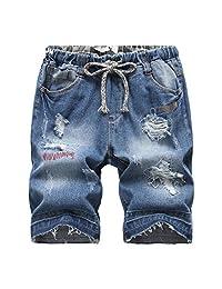 LOKTARC Boys' Distressing Ripped Jean Shorts with Elastic Waist
