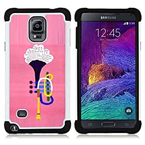 GIFT CHOICE / Defensor Cubierta de protección completa Flexible TPU Silicona + Duro PC Estuche protector Cáscara Funda Caso / Combo Case for Samsung Galaxy Note 4 SM-N910 // The trumpet //