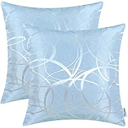 CaliTime Pack of 2 Cushion Covers Throw Pillow Covers Cases for Couch Sofa Home Decor Modern Circles Rings Geometric 18 X 18 inches Light Blue