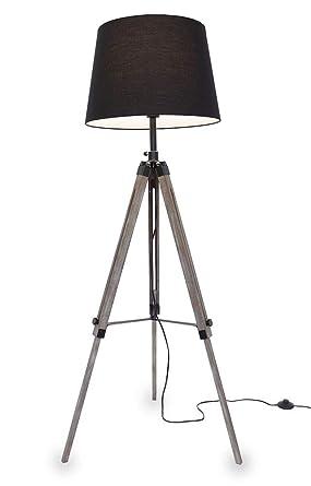 Kiom Retro lámpara de pie Elvy trípode de madera negro 10855 ...