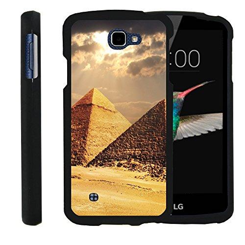 MINITURTLE Case Compatible w/LG Optimus Zone 3,LG Spree,LG K4,LG Rebel Phone Case, Perfect Slim Fit Snap on Case The Traveler Design Pyramids in Egypt