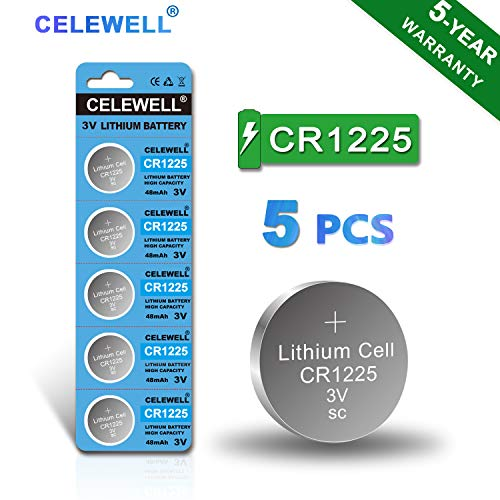 【5-Year Warranty】CELEWELL 5-Pack CR1225 3V Lithium Battery for Thermometer Watch CR 1225