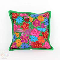 "Mexican Pillow Covers, Mexican Embroidered Pillow Covers, Mexican Pillow Cases (Green 19"" x 19"")"
