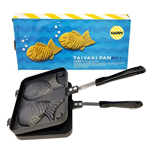 Happy Sales HSTYK1,  Taiyaki Pan Fish shape, 8W x 2H x 12L, Black