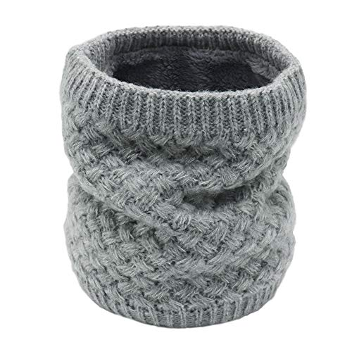 Aiphamy Winter Fleece Lined Knitted Neck Warmer Neck Gaiter Scarf for Women Teens Girls Kids, Grey