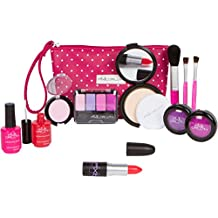 PixieCrush Pretend Play Cosmetic and Makeup Set. 12 Piece Designer Kit with Pink Polka Dot Handbag