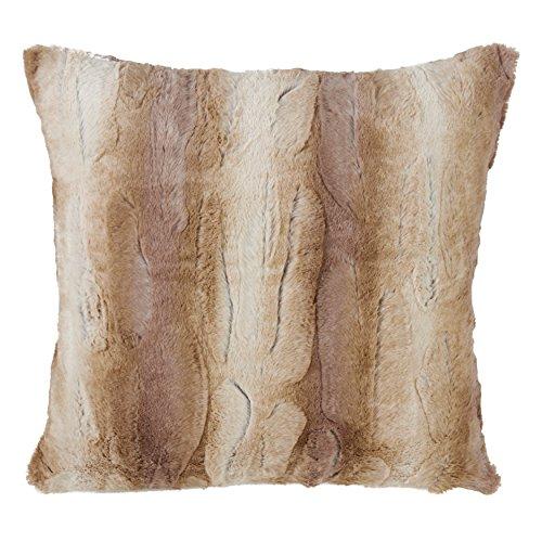SARO LIFESTYLE Wilma Collection Timeless Animal Print Faux Fur Poly Filled Throw Pillow, 20'', Natural by SARO LIFESTYLE