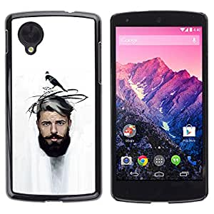 EJOY---Cubierta de la caja de protección la piel dura para el ** LG Nexus 5 D820 D821 ** --Hombre del bigote