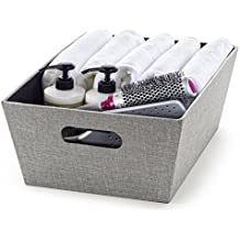"Creative Scents Fabric Decorative Storage Bin for Shelves(9.75"" x 13.75"" x 5.1"")Shelf Basket Dresser Drawer Storage Organizer, For Living Room, Office or Bedroom (Gray Birch)"