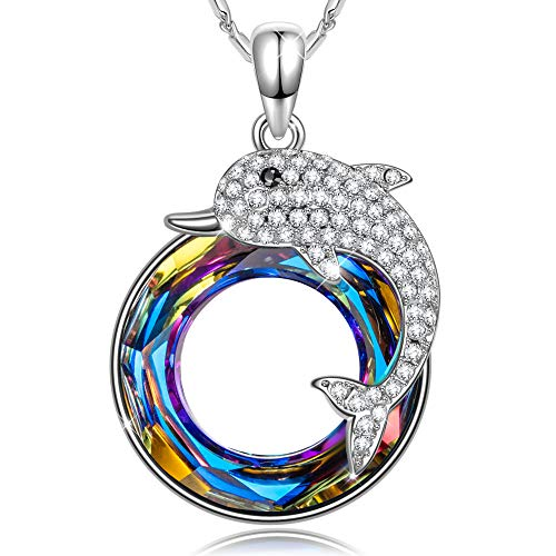 SIVERY Women's 'Dolphin Fairy' Pendant Necklace with Swarovski Crystals, Jewelry for Women, Birthday Gifts for Her ()