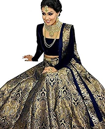 ed633dcf5 Aamu Exports Women's Banarasi Brocade Silk Lehenga with Silk Blouse Fabric  (D-19,
