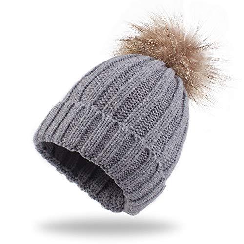 Warm Knitted Baby Beanie Classic Winter Kids Hat with Pompom Toddler Boys Girls Cap (Children Hat, Gray Pompom)