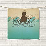 smallbeefly Octopus Hand Towel Vintage Style Marine Background and Octopus with Tentacles in Waves Ocean Wildlife Quick-Dry Towels Ecru Blue Size: W 20'' x L 23''