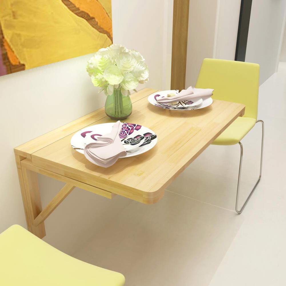 Wood color A- 60x40cm LIANGLIANG Wall-Mounted Table Desk Wall-Mounted Drop-Leaf Folding Table Bedroom Computer Desk Kitchen Dining Table Pine, Load Bearing 40-60kg (color   Wood color, Size   B- 60x45cm)
