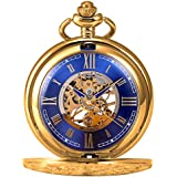 KS KSP073 Men's Mechanical Pocket Watch Retro Rome Number Golden Case With Chain