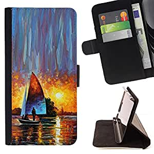 BullDog Case - FOR/Samsung Galaxy A3 / - / sailing ship sunset watercolor art sun /- Monedero de cuero de la PU Llevar cubierta de la caja con el ID Credit Card Slots Flip funda de cuer