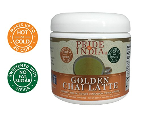 Pride Of India Golden Chai Latte - Powdered Instant Turmeric Milk w/Ginger, Cinnamon, Stevia & Pepper - No Fat & No Sugar, 8.82oz (250gm) Jar (Makes 20-25 Cups)